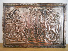 Repoussé with an image of Saint George and Saint Dimitris from the 18th century