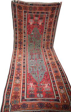 "Antique handmade Anatolian Turkish Kilim runner circa 1920 size 390x150cm (12'8""x4'9"")"