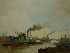 Henri Joseph Pauwels (1903-1983)- steam boats in the harbour