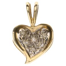 14 kt yellow gold pendant set with 6 brilliant cut diamonds of approx. 0.01 ct each.