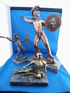 Copper and bronze Achilles images.  3 pieces on marble bases