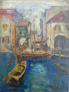 W Dusee (20th century) - fishing boats in harbour
