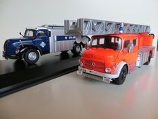 Schuco/Ixo - Scale 1/43 - Lot with Magirus Aral and Mercedes Fire Department