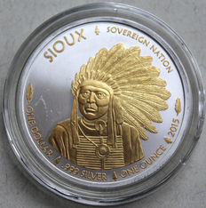 USA - 1oz America Sioux Indian 2015 - Silver Gold Gilded