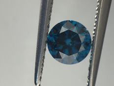 0.47 carat fancy vivid blue round shape diamonds. Clarity -VS2