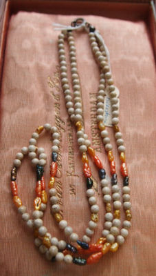 2 Row necklace of wild pearls and river stone