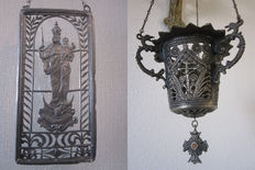 "Beautiful original God's light of bronze, and drawing of tin in stained glass ""PATRONA BAVARIA"" - 20th century"