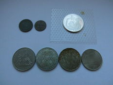 Germany - 7 Various Coins, incl. silver one, 2 Banknotes