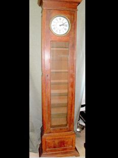 Display cabinet with 7 Glass Shelves and a Concealed Safe (Old Clock transformed and restored), France, first Half 20th century
