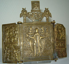 "Rare bronze triptych of the ""H. NICHOLAS of MOSJAISK"" - Russia Ca 1750"