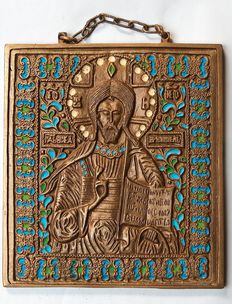 Russian Orthodox travel icon  - Christ Pantocrator - ~20 th century
