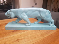 Beautiful light cubistic deco style ceramic Panther on foot