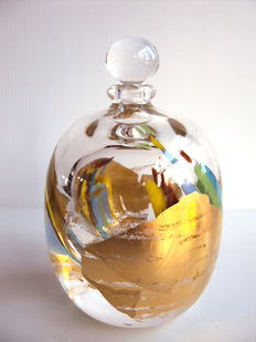 PAROT. M - Unique Creation Large flask gold surface. (Signed/dated)