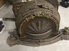 Rich redecorated cast iron stove - England - early 20th century