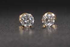 Solitaire ear studs made of yellow gold 18kt with brilliant cut diamonds measuring 2.05ct in total