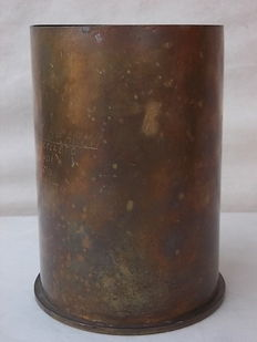 Ancient World War II brass cannon cartridge, still with fuse. Very, very peculiar. From the gothic line.