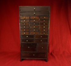 Tool cabinet (watchmaker, jeweller) - 27 wooden drawers - late 19th/early 20th century