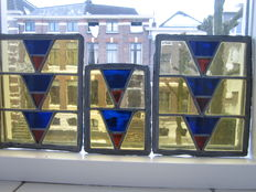 Three beautiful, old pieces of stained glass with mosaic pieces - late 19th century