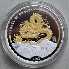 "Cameroon - 1000 francs 2012 ""Year of the Dragon"" with gold elements"