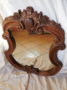 Mirror with a carved, undulating real wood frame - flowers/coat of arms, France, ca 1900
