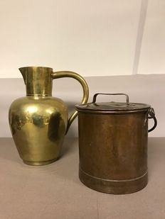Brass jug & red copper pot with handle and lid with handle, France, approx. 1900