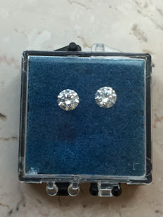 Lot of 2x 0.20 ct brilliant cut diamonds, 0.40 ct in total, G (clear white), VS (high clarity).