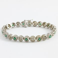 Estate 14kt  White Gold Bracelet  Set with Diamonds  and Emeralds