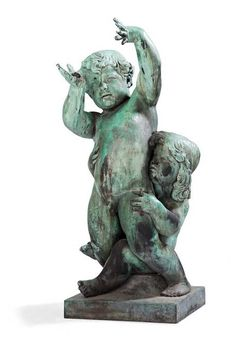Emil Stadelhofer (1872-1961) - large bronze sculpture depicting a boy and girl - Germany - dated 1911.
