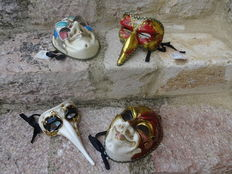 Collection of 4 beautiful Venetian masks