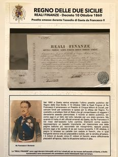 Kingdom of the two Sicilies-5 Francs from the Royal Treasury-signed by the Finance Minister Baron Salvatore Carbonelli-Year 1860 (siege of Gaeta) with authentic certificates (AOC) and folder