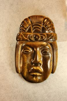 Tiger's Eye - hand-carved and polished - Aztec Death-mask - 120 x 75 x 8mm - 165g