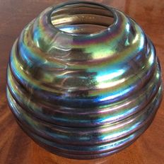 Bohemian ball vase iridescent with horizontal ridges