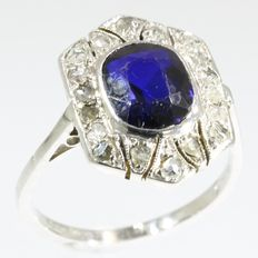 'Something blue, something old' Art Deco gold diamond and verneuil Sapphire ring, ca. 1920