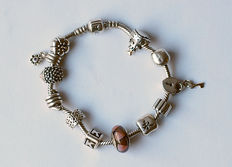 Pandora charm bracelet with 12 charms; 925 silver; 52 grams; approx. 19 cm