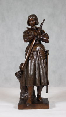 Sculpture - Joan of Arc - metal cast, bronzed - late 19th century - ca 1900 - Historicism - France