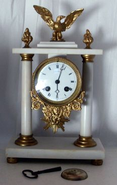 FRANCE Napoleon superb inusual chime clock Eagle on white marble ormolu - 19th Century