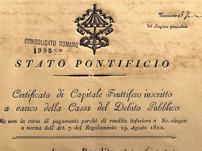 Papal State Roman Consolidated Bond Data Of Emission 1822 Standard