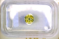 Fancy Light Yellowish GREEN Diamant - 0.52 ct  - SI2 - Zonder Reserve Prijs