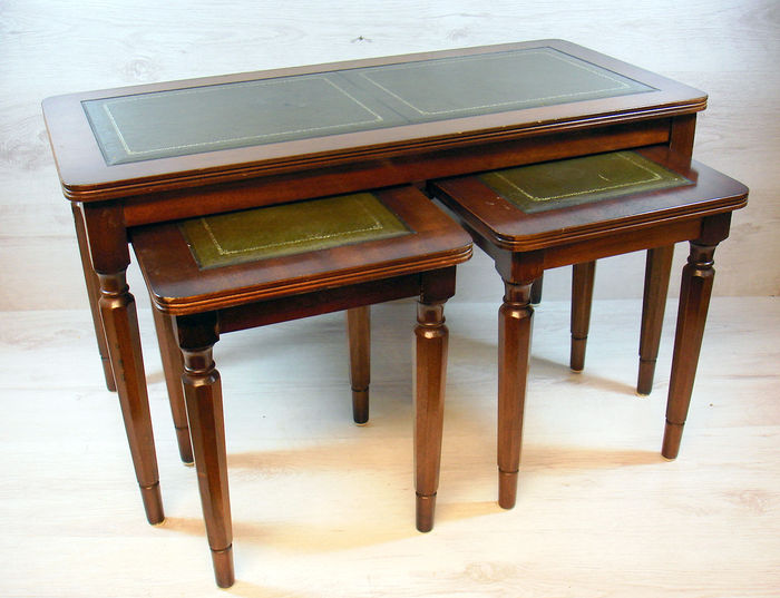 Genial Three Part Set Of Side Tables With Green Leather Table Tops, The  Netherlands,