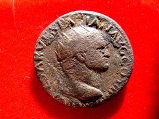Roman Empire - Vespasian (69 - 79 A.D.) orichalcum dupondius (10,90 g. 27 mm.) from Lugdunum mint, 72-73 A.D. PAX AVG