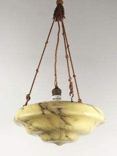 Marbled Glass Art Deco Lamp