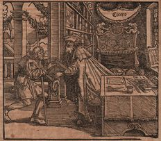 Hans Weiditz (1500-1536) - Cicero giving his book 'officina' to his son -  1531