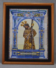 Tiled image of Christ of the Great Power- Representing Christ with the altarpiece and the coat of arms - Spain - 20th century -