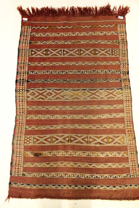 Beautiful old oriental carpet, Berber kilim Sumac wedding carpet, around 1950/1960,