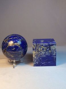 Madani Lapis Lazuli sphere and cube - 66 to 70mm - 1460gm  (2)