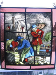 "Beautiful old hand-painted stained glass sun catcher of ""De Metselaar"" (mason)"