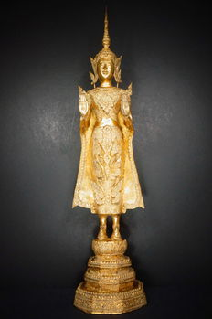 "Very large, bronze and gold-plated ""Rattanakosin"" Buddha (approx. 74 cm) – Thailand – late 19th century"