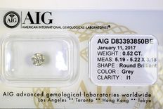 Grey diamond – 0.52 ct – No reserve