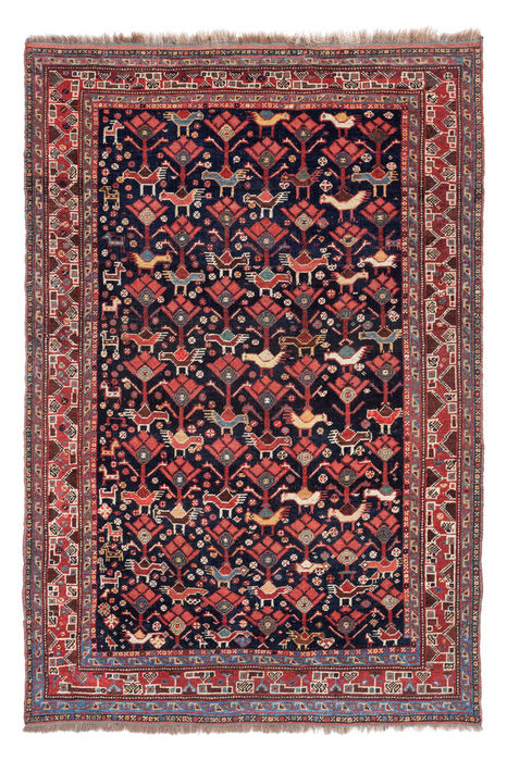 Antique hand knotted Khamseh carpet, 142 x 95 cm.