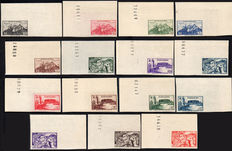 French-occupied Territories, Fezzan-Ghadamès, 1946 - Military Territory - Not perforated - Complete series of 15 stamps.